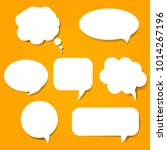 speech bubble set and orange...   Shutterstock . vector #1014267196