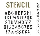 stencil alphabet with grunge... | Shutterstock .eps vector #1014279505