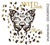 stylized leopard in butterfly... | Shutterstock .eps vector #1014285412
