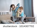 two kids sisters girls playing... | Shutterstock . vector #1014307702