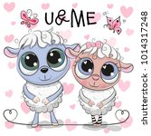 Stock vector two cute cartoon sheep on a hearts background 1014317248