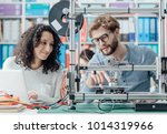 engineering students using a 3d ... | Shutterstock . vector #1014319966