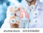 doctor conducts a study and... | Shutterstock . vector #1014336082
