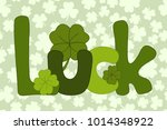 hand drawn luck lettering... | Shutterstock .eps vector #1014348922