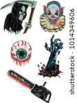 vector set of horror stickers... | Shutterstock .eps vector #1014349606