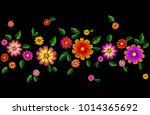 bright flower embroidery... | Shutterstock .eps vector #1014365692