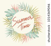 summer wreath with tropical... | Shutterstock .eps vector #1014369046