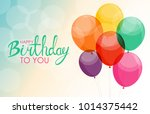abstract happy birthday balloon ... | Shutterstock . vector #1014375442