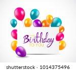 abstract happy birthday balloon ... | Shutterstock . vector #1014375496