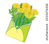 vector bouquet with outline... | Shutterstock .eps vector #1014376336