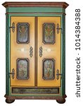 vintage painted wooden wardrobe ... | Shutterstock . vector #1014384388