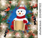 illustration of snowman with... | Shutterstock .eps vector #1014387322