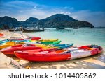 colorful kayaks at ao loh dalum ... | Shutterstock . vector #1014405862