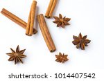 spices  star anise and cinnamon ... | Shutterstock . vector #1014407542