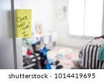 dirty teenager room with note... | Shutterstock . vector #1014419695