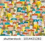 seamless city pattern with... | Shutterstock .eps vector #1014421282