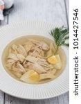 chicken soup top view  | Shutterstock . vector #1014427546