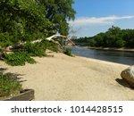 white sandy beach at the shore... | Shutterstock . vector #1014428515