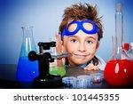 little boy is making science... | Shutterstock . vector #101445355