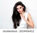 beautiful young woman with long ... | Shutterstock . vector #1014456412