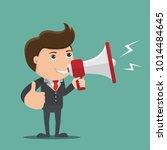 businessman with a megaphone    ...   Shutterstock .eps vector #1014484645