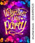 valentine's day party banner... | Shutterstock .eps vector #1014490525