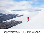 a man is skiing on the slope ... | Shutterstock . vector #1014498265