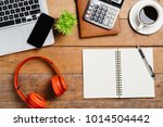 view from above.office desk... | Shutterstock . vector #1014504442