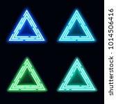 neon light triangles set.... | Shutterstock . vector #1014506416