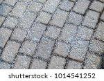 melting salt on the sidewalk in ... | Shutterstock . vector #1014541252