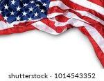 closeup ruffled american flag... | Shutterstock . vector #1014543352