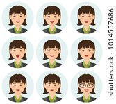 business woman flat avatars set ... | Shutterstock .eps vector #1014557686