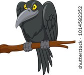 cartoon crow on a tree branch  | Shutterstock .eps vector #1014582352