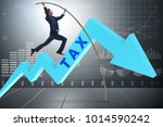 businessman jumping over tax in ...   Shutterstock . vector #1014590242