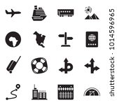 solid black vector icon set  ... | Shutterstock .eps vector #1014596965