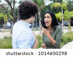 arguing young couple with... | Shutterstock . vector #1014600298