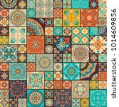 seamless colorful patchwork... | Shutterstock .eps vector #1014609856