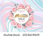 Stock vector mother s day sale background with beautiful pink roses on marble background vector illustration 1014619645