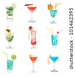 cocktails collage collection.... | Shutterstock . vector #101462395