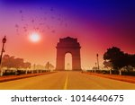 birds fly over india gate with... | Shutterstock . vector #1014640675