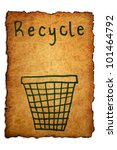 Recycle, on background with old paper - stock photo