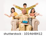 indian kids with grandfather...   Shutterstock . vector #1014648412