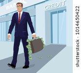 satisfied young businessman in... | Shutterstock .eps vector #1014650422