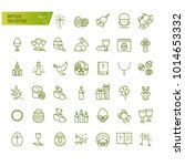 happy easter thin line icons... | Shutterstock .eps vector #1014653332