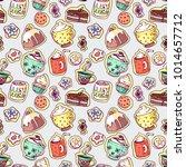 vector doodle seamless pattern... | Shutterstock .eps vector #1014657712