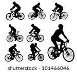 bicyclists silhouettes set | Shutterstock .eps vector #101466046