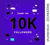 10k followers thank you banner. ... | Shutterstock .eps vector #1014663346
