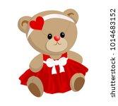 cute little teddy bear girl ... | Shutterstock .eps vector #1014683152