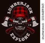 lumberjack skull vector... | Shutterstock .eps vector #1014689365
