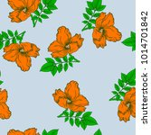 seamless pattern with orange... | Shutterstock .eps vector #1014701842